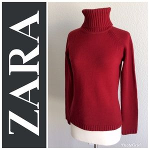Zara Red Turtleneck Wool Sweater